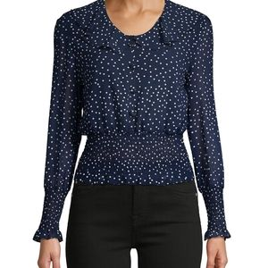 🔵 NWT 70/21 Women's Navy Blue Dotted Chiffo